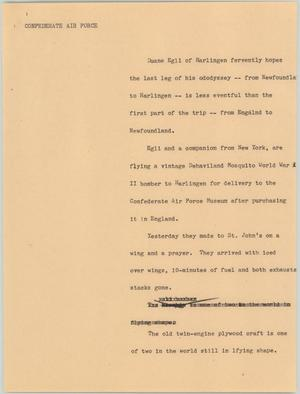 Primary view of [News Script: Confederate air force]