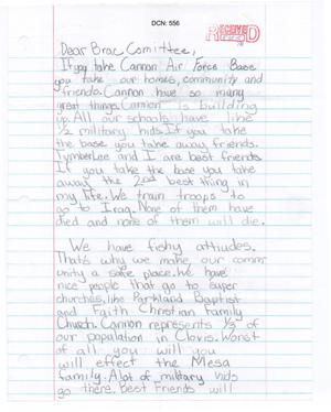 Primary view of object titled 'Cannon Air Force Base - LTR ICO - Mesa Elementary Student'.