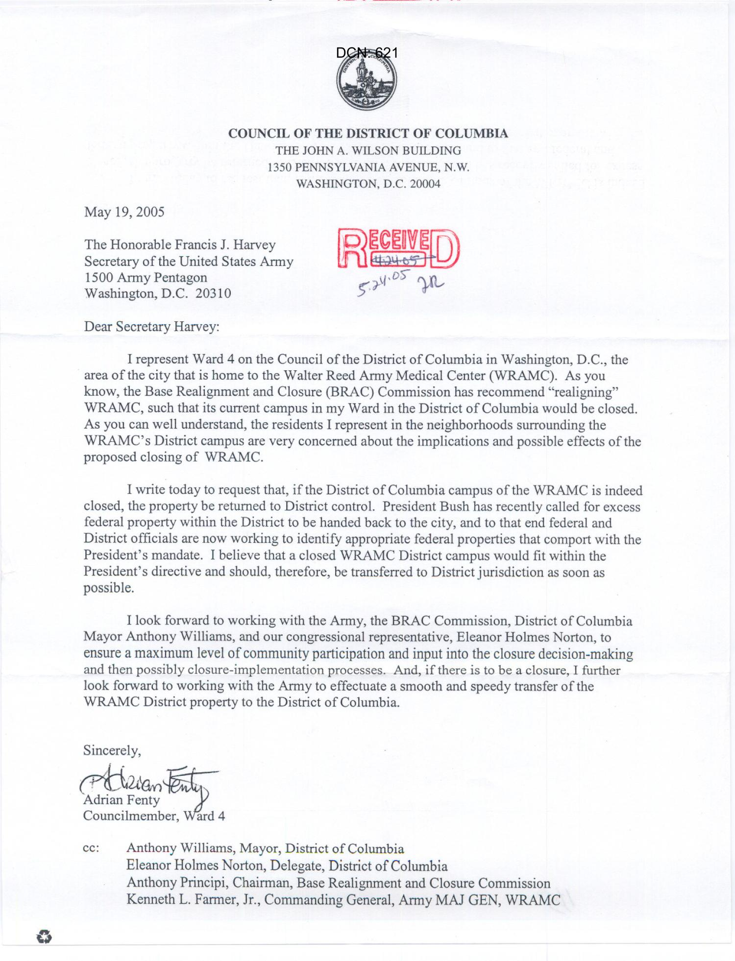 Walter Reed - LTR - ICO: Adrien Fenty                                                                                                      [Sequence #]: 1 of 1