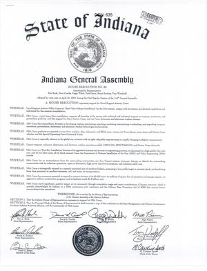 Primary view of object titled 'Indiana General Assembly House Resolution No. 80'.