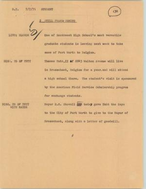 Primary view of object titled '[News Script: Student]'.