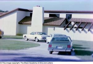 Primary view of object titled '[Photograph of parked cars outside of Tony Dorsett's house]'.
