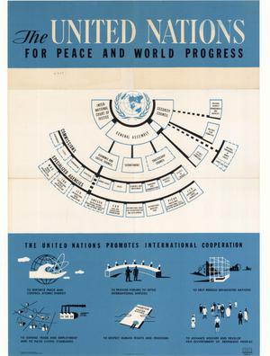 Primary view of object titled 'The United Nations: For Peace and World Progress.'.
