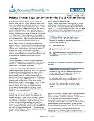 Primary view of object titled 'Defense Primer: Legal Authorities for the Use of Military Forces'.