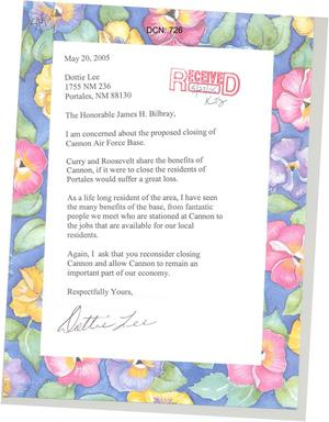 Primary view of object titled '[Letter from Dottie Lee to James H. Bilbray - May 20, 2005]'.