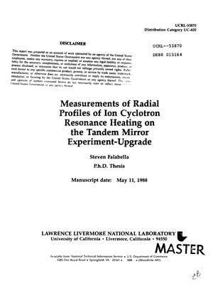 Primary view of object titled 'Measurements of radial profiles of ion cyclotron resonance heating on the Tandem Mirror Experiment-Upgrade'.