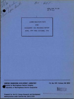 Primary view of object titled 'LMFBR reaction rate and dosimetry 10th progress report, June 1974--October 1975'.
