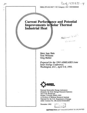 Primary view of Current performance and potential improvements in solar thermal industrial heat