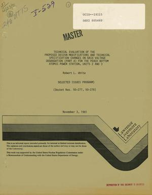 Primary view of object titled 'Technical evaluation of the proposed design modifications and technical specification changes on grid voltage degradation (Part A) for the Peach Bottom Atomic Power Station, Units 2 and 3: selected issues program (Docket Nos. 50-277, 50-278)'.