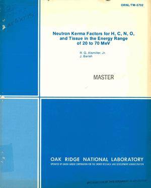 Primary view of Neutron Kerma Factors for H, C, N, O, and Tissue in the Energy Range of 20 to 70 MeV