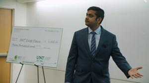 Primary view of object titled '[Photograph of Devasantosh Mohanty at the Fall 2018 Three Minute Thesis (3MT®) Final Competition]'.