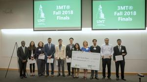 Primary view of object titled '[Photograph of Dr. Joseph Oppong and all finalists from the Fall 2018 Three Minute Thesis (3MT®) Final Competition]'.
