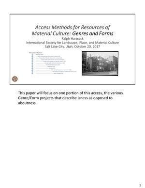 Access Methods for Resources of Material Culture: Genres and Forms
