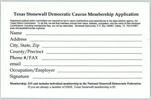 Primary view of [Texas Stonewall Democratic Caucus Membership Application]
