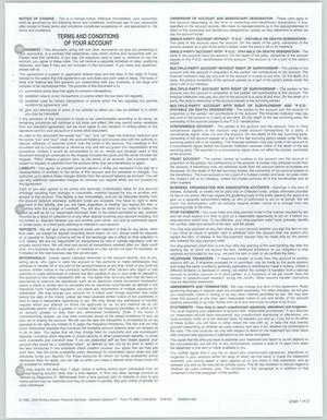 Primary view of object titled '[American National Bank of Texas, Terms and Conditions of Your Account]'.