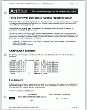 Primary view of object titled '[ActBlue Texas Stonewall Democratic Caucus reporting center]'.