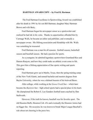 [Hartman Award Copy by Fred B. Hartman]