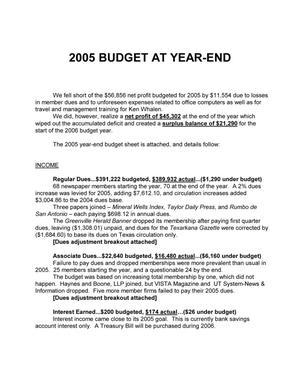 [TDNA 2005 Budget at Year-end]