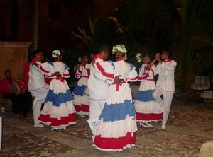Primary view of object titled '[Dance performance at the closing ceremony dinner, 2003 World Dance Alliance V General Assembly of The Americas]'.