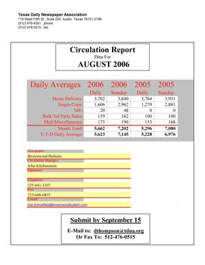 Primary view of object titled '[TDNA Circulation Report, August 2006]'.