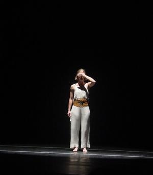 Primary view of [Standing dancer covers her eyes, 2003 World Dance Alliance General Assembly]