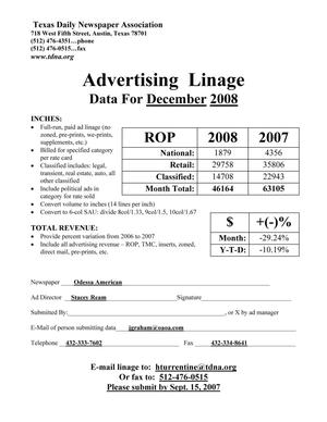 [TDNA Advertising Linage Report for the Odessa American, December 2008]