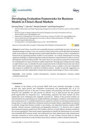 Developing Evaluation Frameworks for Business Models in China's Rural Markets