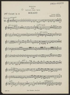 """Primary view of Selection from """"Mikado"""": 2nd Cornet in A  Part ORCH-00375-12"""