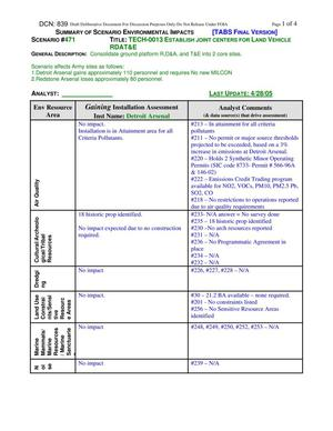 Primary view of object titled 'BRAC 2005 DoD Report Technical Justification Book 20 May 2005 SUMMARY OF SCENARIO ENVIRONMENTAL IMPACTS TECH-0013 ESTABLISH JOINT CENTERS FOR LAND VEHICLE'.