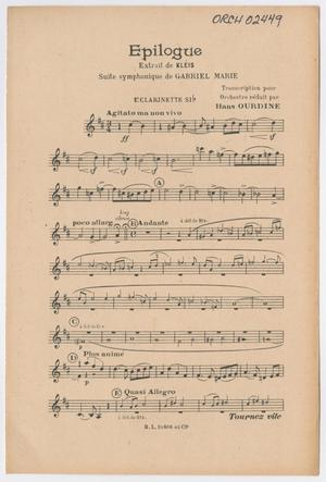 Primary view of Epilogue: 1st Clarinette Si♭ Part ORCH-02449-10