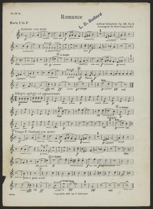 Primary view of Romance: Horn 1 in F Part