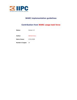 Primary view of object titled 'WARC implementation guidelines'.