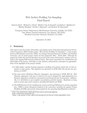Primary view of Web Archive Profiling Via Sampling Final Report