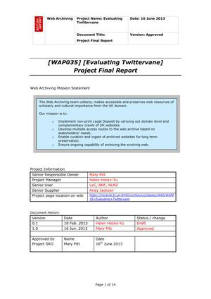 Primary view of Evaluating Twittervane: Project Final Report