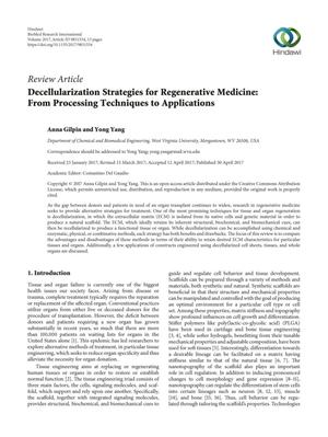 Primary view of object titled 'Decellularization Strategies for Regenerative Medicine: From Processing Techniques to Applications'.