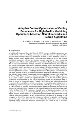 Adaptive Control Optimization of Cutting Parameters for High Quality Machining Operations based on Neural Networks and Search Algorithms