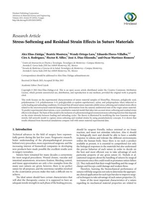 Stress-Softening and Residual Strain Effects in Suture Materials