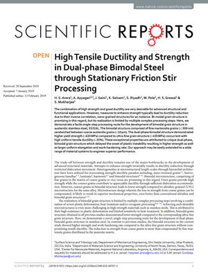 Primary view of High Tensile Ductility and Strength in Dual-phase Bimodal Steel through Stationary Friction Stir Processing