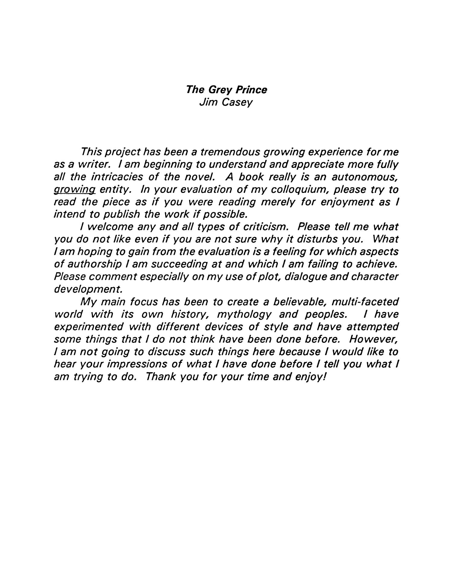The Grey Prince                                                                                                      Title Page