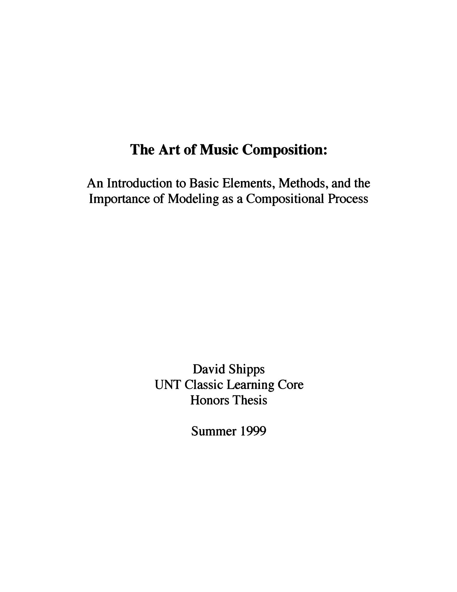 the art of music composition  an introduction to basic