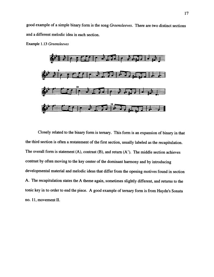 Simple Musical Forms Simple Binary Form is The