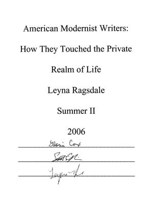 American Modernist Writers: How They Touched the Private Realm of Life