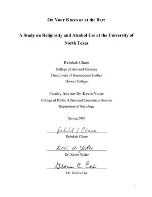 On Your Knees or at the Bar: A Study on Religiosity and Alcohol Use at the University of North Texas