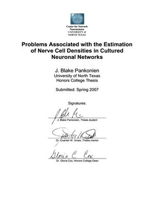 Primary view of object titled 'Problems Associated with the Estimation of Nerve Cell Densities in Cultured Neuronal Networks'.