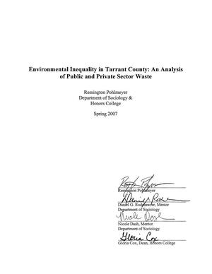 Environmental Inequality in Tarrant County: An Analysis of Public and Private Sector Waste