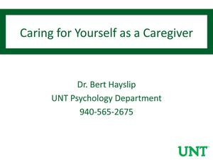 Primary view of object titled 'Caring for Yourself as a Caregiver'.