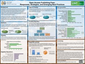 Primary view of object titled 'Open Access Publishing Fees: Responses, Strategies and Emerging Best Practices [Poster]'.