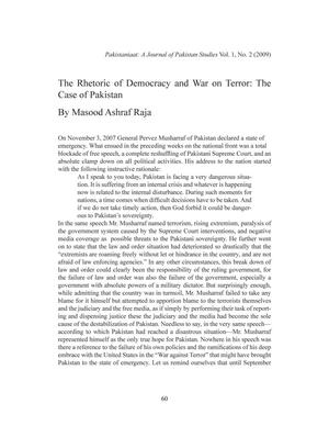 The Rhetoric of Democracy and War on Terror: The Case of Pakistan