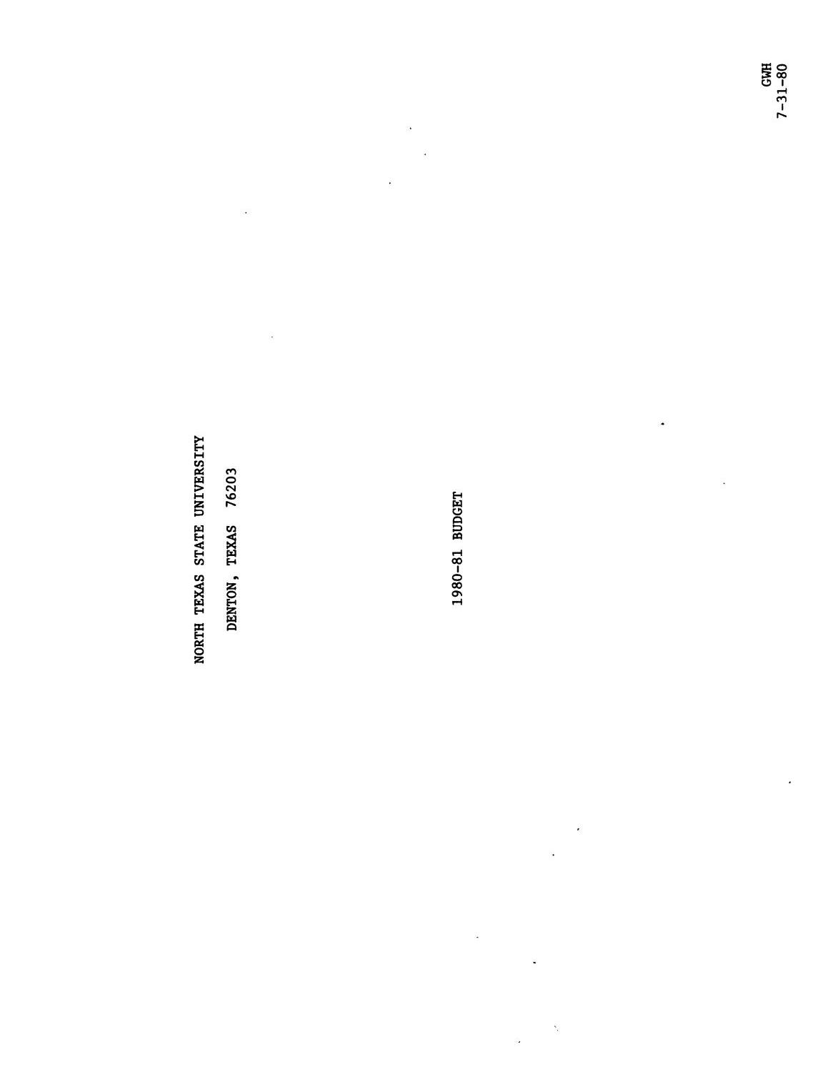 North Texas State University Budget: 1980-1981                                                                                                      Title Page