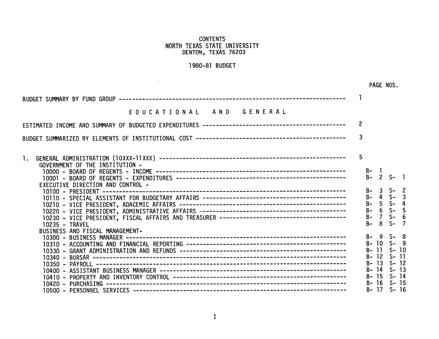 North Texas State University Budget: 1980-1981                                                                                                      I